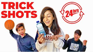 REAL LIFE TRICK SHOTS for 24 Hours | Rimorav Vlogs