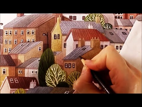 Watercolor Illustration Irish town work in progress painting by Iraville