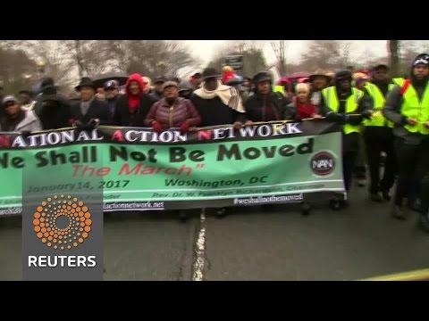 Anti-Trump protests kick off with Washington civil rights march