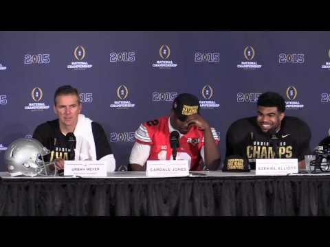 Postgame comments from Urban Meyer after winning the National Championship vs. Oregon
