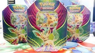 Opening 4x Leafeon GX Evolution Celebration Pokemon Tins