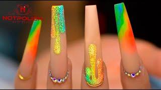 HOW TO DO RAINBOW DRIP NAIL TUTORIAL I ACRYLIC COFFIN SHAPE DESIGN I 2020 NAIL TREND I NOTPOLISH ART