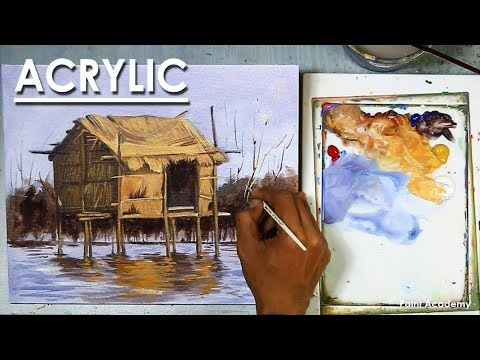 Acrylic Painting : The Primitive House on Water