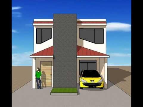 Planos de casas de dos pisos con fachadas modernas musica for Casa moderna minimalista 6 00 m x 12 50 m 220 m2