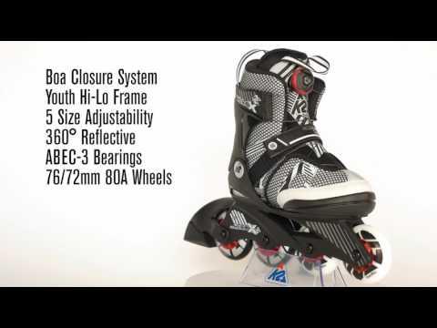 Video K2 Kids Roller SK8 HERO X BOA 2017 Black White