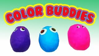 Play-Doh Buddies teaching colors with a surprise! Green, Pink, Yellow..