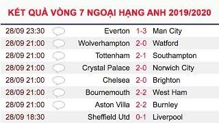 Kết quả vòng 7 Ngoại Hạng Anh 19/20   Bảng xếp hạng Ngoại Hạng Anh (Premier League) 19/20