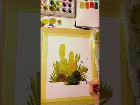 full realtime process of my cacti watercolor Illustration (by Iraville)