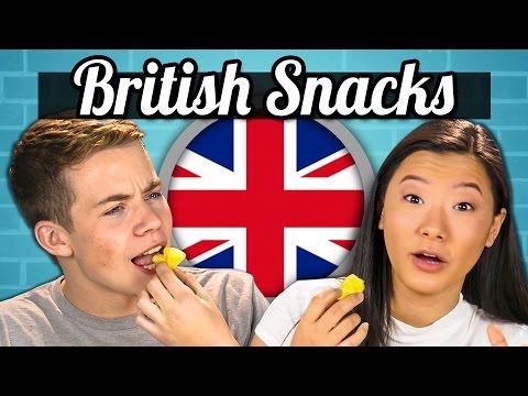 TEENS EAT BRITISH SNACKS! (Jaffa Cakes, Sherbet Fountain, Monster Munch)   Teens Vs. Food