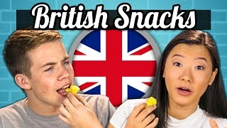 TEENS EAT BRITISH SNACKS! (Jaffa Cakes, Sherbet Fountain, Monster Munch) | Teens Vs. Food