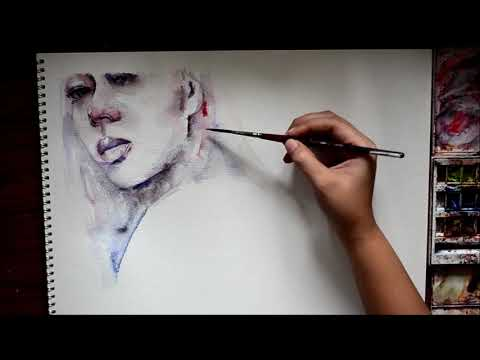 Speed Up Watercolor Portrait Painting – I Just Came To Say Goodbye, Says Everybody