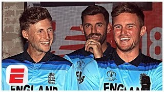Members of the England cricket team unveil the new World Cup kit | ESPN Cricinfo
