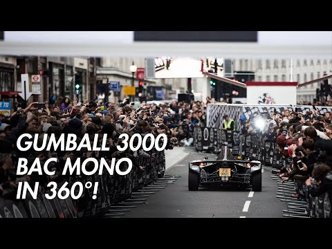 Gumball 3000 London - Oliver Webb in the BAC Mono driving down Regent Street in 360 degrees