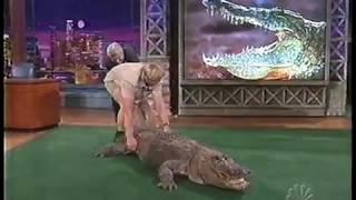 Jay Leno almost bitten by Alligator - Steve Irwin 2002