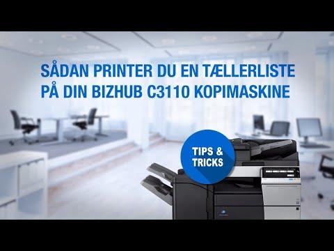 Sådan printer du en tællerliste på din bizhub C3110 kopimaskine