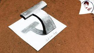 Vẽ 3D Siêu Ảo !! Vẽ Chữ T 3D NỔI TRÊN MẶT GIẤY