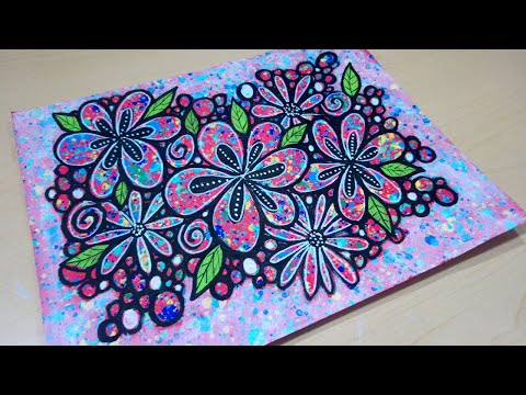 Flowers and Berries - Doodling on Hand-painted Paper with Paint Markers - Drawing  by @BeCre8ive2
