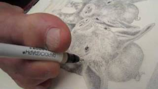 Artist with no arms demonstrates drawing technique.