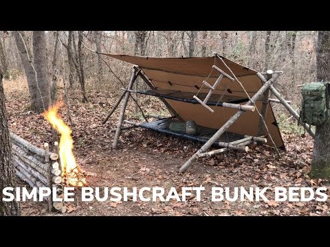 Simple Overnight Shelter Build - Bushcraft Bunk Beds