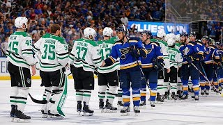 Blues, Stars exchange handshakes after dramatic double overtime Game 7