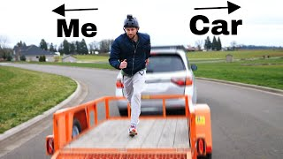 Running Off A Vehicle Backwards At The Same Speed That It Is Driving Forward!