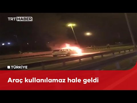 D-100 Karayolu'nda seyir halindeki bir araç alev aldı