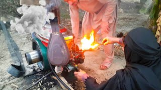 Old Diesel Engine Start Up With Fire | Tubewell Technology | Agriculture In Pakistan