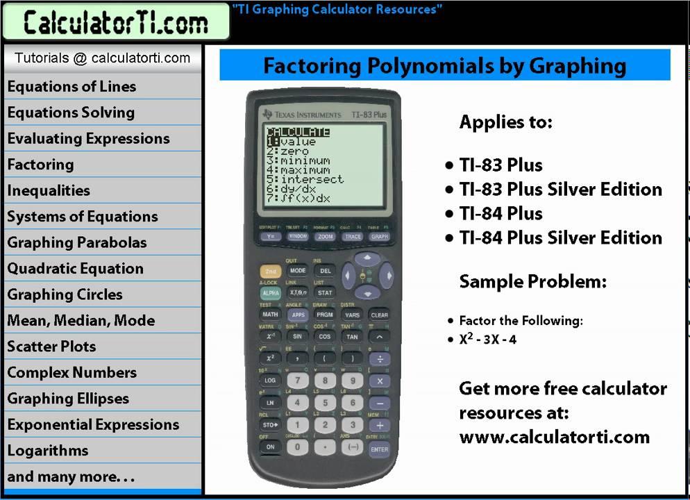 Main menu calculator tipsback to last sliderules factoring.