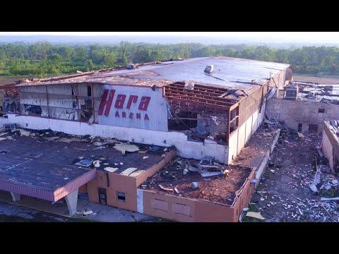 WATCH: Drone video of Hara Arena tornado damage