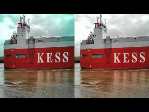 3d stereoscopic Side by Side seabound car carrier seaship Emden Port NECKAR HIGHWAY