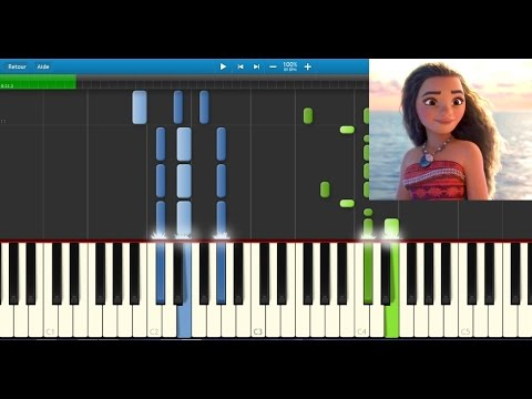 Vaiana (Moana) - Le bleu lumière - Karaoke / Piano synthesia tutorial (+ lyrics & Sheet music)