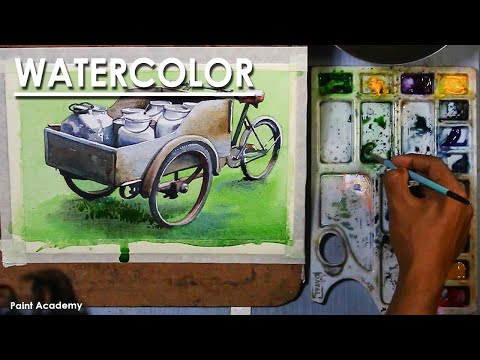 Watercolor Painting : The Milk Van