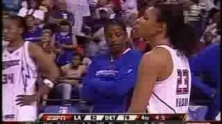 LA Sparks vs Detroit Shock - WNBA - Entire Fight - Candace Parker & Plenette Pierson
