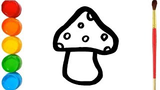 Glitter Mushroom Coloring and Drawing Learn Colors for Kids, Toddlers | Eva Bloksy