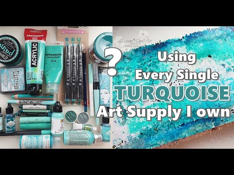 Art Journal using ONLY TURQUOISE Art Supplies ♡ Maremi's Small Art ♡