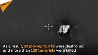 Krenuli na sirijsku Palmiru: 120 džihadista i 32 pikapa počistila ruska avijacija – VIDEO