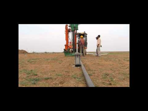Solar PV foundation Installation by High Speed Ramming