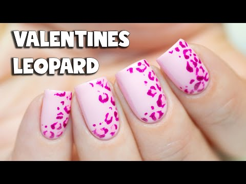 Easy Valentines Leopard Print Nail Art