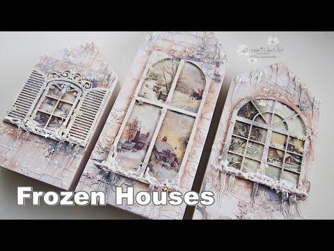 Decoupage Mixed Media Altered Winter Houses ♡ Maremi's Small Art ♡