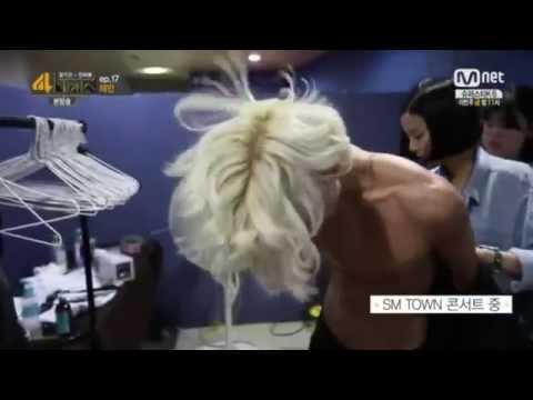 140819 Naked Taemin doing makeup