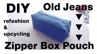 Refashion DIY Upcycled Denim Zipper Box Pouch デニム ✂️ リメイクㅣmadebyaya