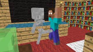 Monster School: Brave - Minecraft Animation - Skeleton kicks balls of Herobrine, he's so brave :))