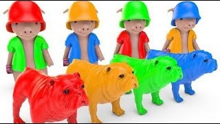 Learn Colors with Bull Dogs Cartoon for Kids | Color Balls for Children