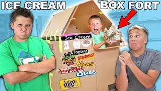 ICE CREAM SUNDAE BOX FORT! Sour Candy + Chocolate + Cookie Toppings + Fun for Children