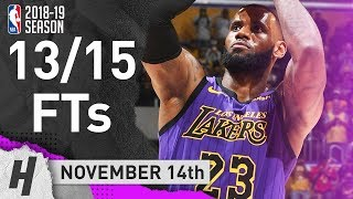 LeBron James All 13/15 Free Throws Highlights | Lakers vs Trail Blazers | November 14, 2018