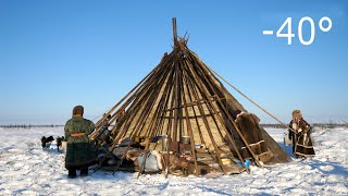 Warmest Tent on Earth - Pitching in the Siberian Arctic Winter - Ненецкая палатка чум