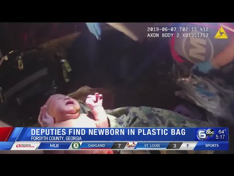 Video shows rescue of baby from plastic bag in Georgia woods