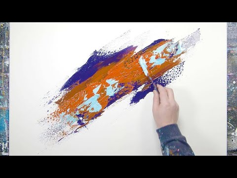 Violet, Orange and Teal | EASY ABSTRACT PAINTING DEMO | Verno