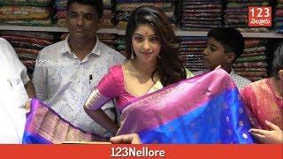 Actress Anu Emmanuel in Saree at Nellore Kanchi Lalitha Silks