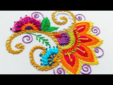 Embroidery Indian * Easy Flower stitches * Decorative flower * top embroidery